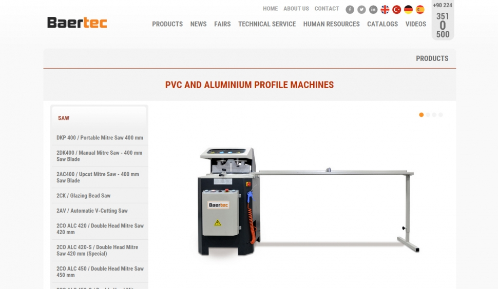 Baertec Makine Kontrol Panelli Web Sitesi - Web Tasarımı