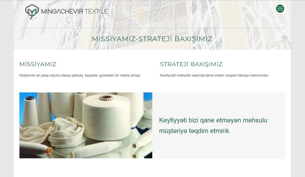 Mingachevir Textile Corporate Website - Web Design