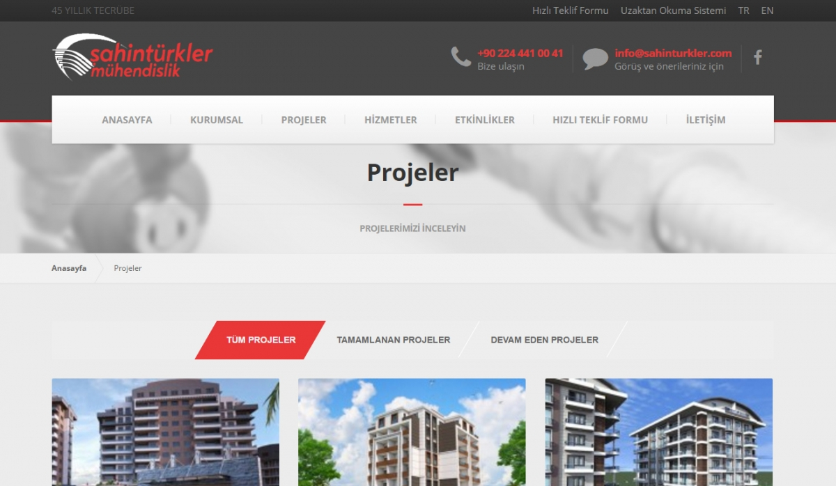 Şahintürkler Mühendislik Website with Admin Panel - Web Design
