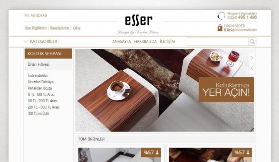 Esser Koltuk Sehpası E-Ticaret Sitesi - Web Tasarımı