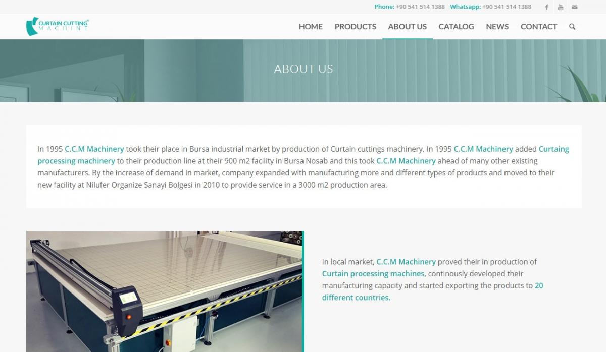 Curtain Cutting Machine Corporate Website - Web Design