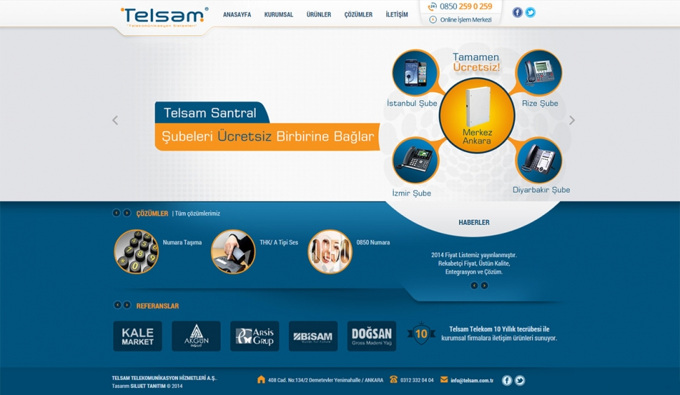Telsam Telekomunikasyon Kontrol Panelli Web Sitesi - Web Tasarımı