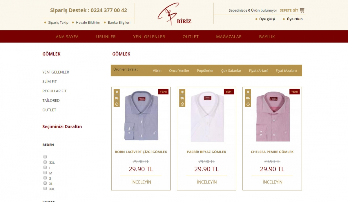 Biriz Gömlek E-Commerce Website - Web Design