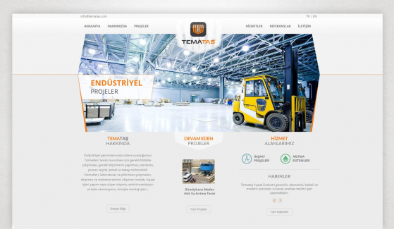 Temataş İnşaat Endüstri Kontrol Panelli Web Sitesi - Web Tasarımı
