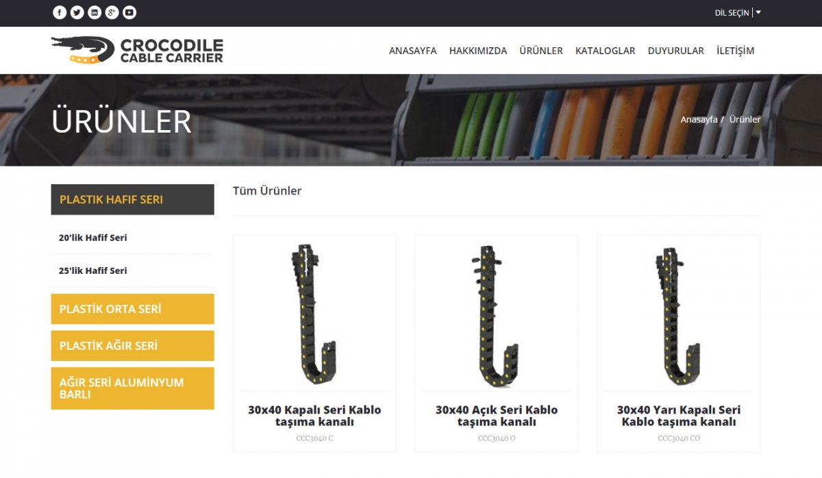 Crocodile Cable Carrier Website with Control Panel - Web Design