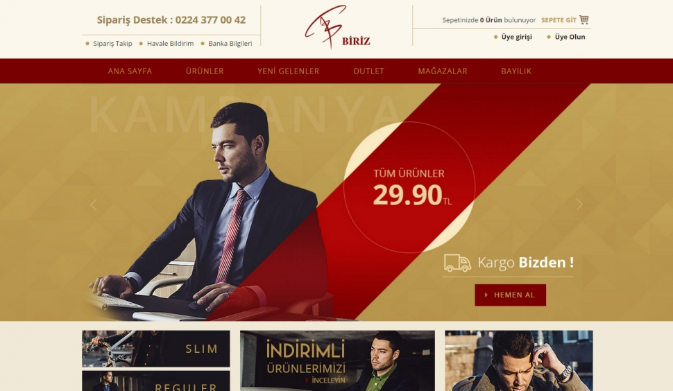 Biriz Gömlek E-Ticaret Sitesi - Web Tasarımı