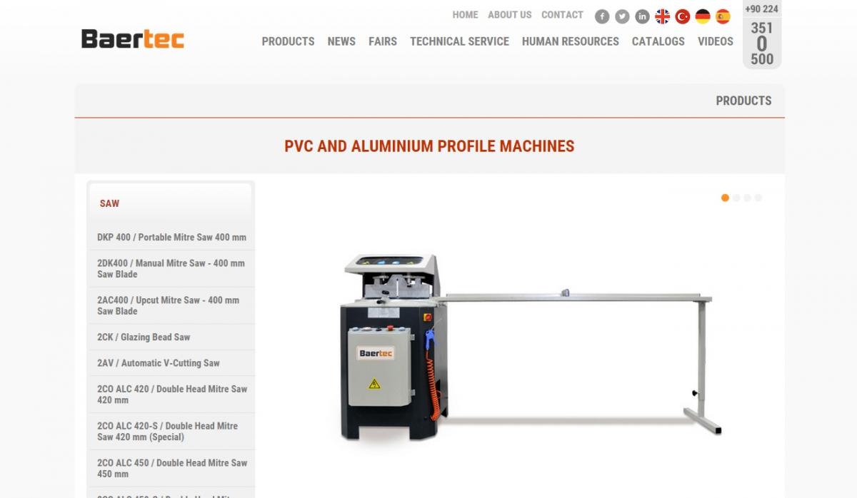 Baertec Makine Website With Admin Panel - Web Design