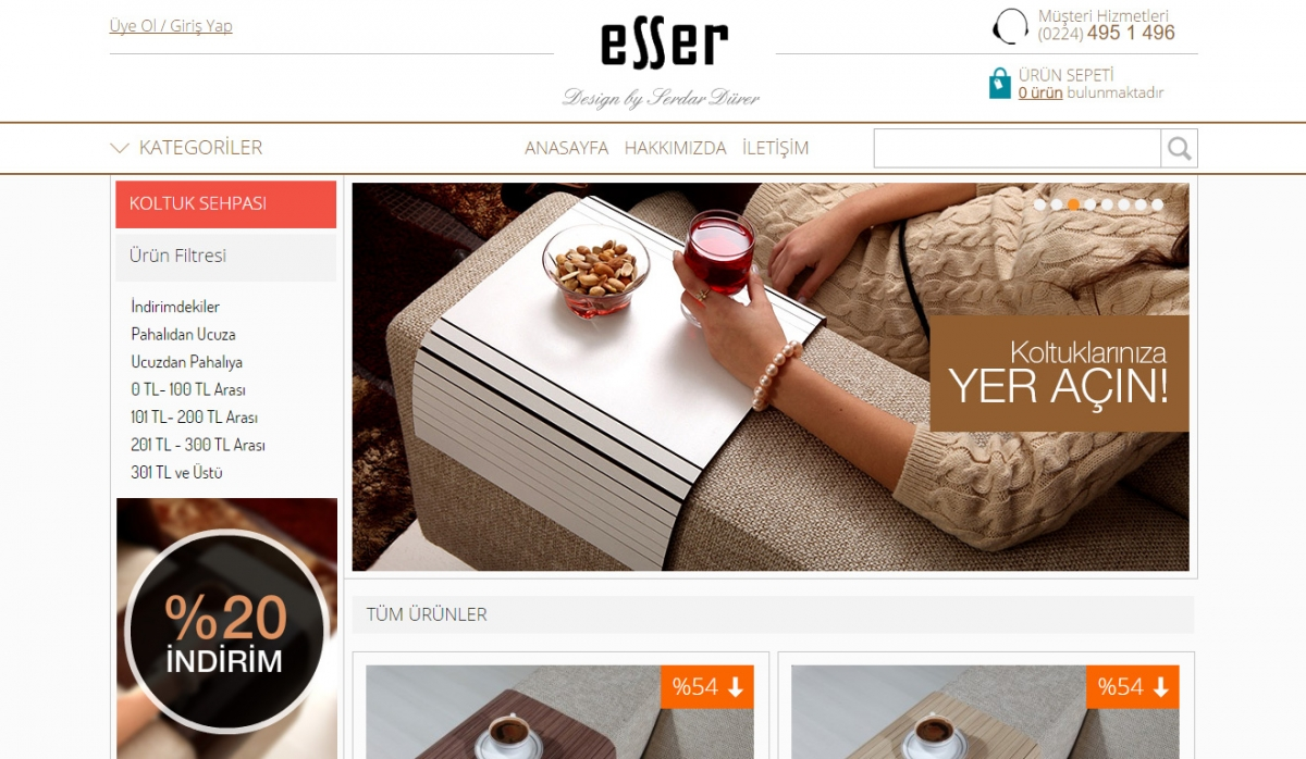 Esser Koltuk Sehpası E-Commerce Website - Web Design