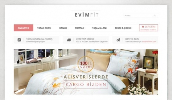 Evimfit Tekstil E-Store Website - Web Design